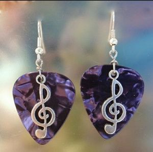Jewelry - Purple Guitar Pick Music Note Clef Charm Earrings